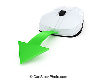 computer mouse with green arrow
