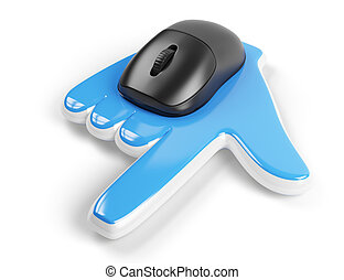 computer mouse with hand cursor