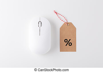 Computer mouse with sale tag