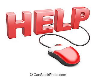 computer muis, samenhangend, om te, de, woord, helpen, -,...