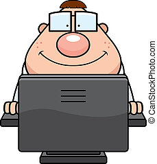 A cartoon nerd in front of a computer.
