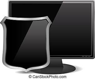 computer, nero, monitor, scudo