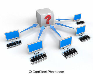 computer net, met, pijl, en, vraag