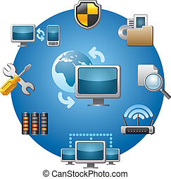 computer net, pictogram, set