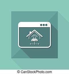 computer netværk, -, ansøgning, vektor, hjem, modem, ikon