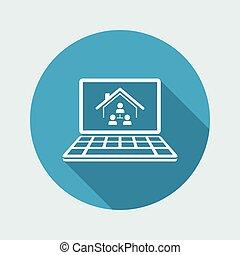 computer netværk, -, system, ansøgning, vektor, hjem, ikon