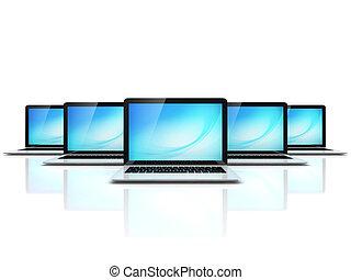 computer network 3d illustration - laptops on white ...