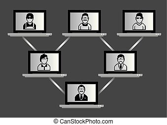 Wireless laptop computers with people on monitor screen linked in a hierarchical tree network. Conceptual vector illustration for high tech virtual meeting and networking technology isolated on plain grey background.