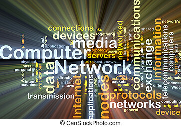 Computer network background concept glowing