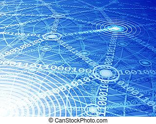 Computer network - Blue multilayer computer network. Eps10....
