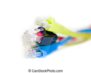 computer network cables rj45 on white background