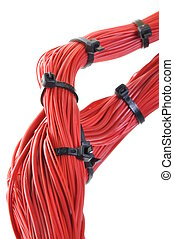 Computer network, cables with ties