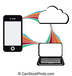 communication technology illustration with mobile phone