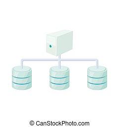 Computer network database icon, cartoon style