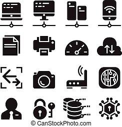 Computer network device & Data communication icon set