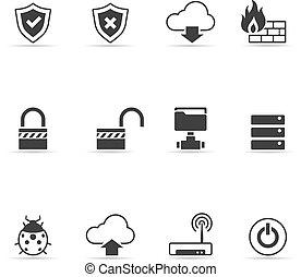 Computer Network Icons - Computer network icon set in single...