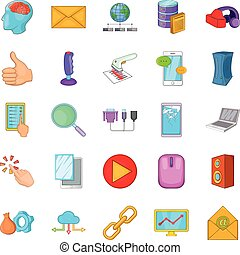 Computer network icons set, cartoon style