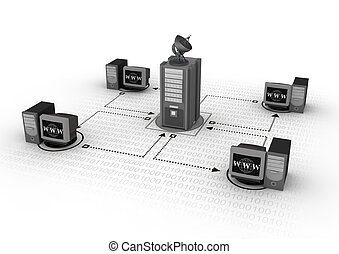 Illustration of a group of computer connected in a network