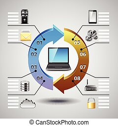 Computer network infographics vector background
