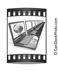 Computer Network Online concept with Eco Wooden  Laptop and Earth. The film strip