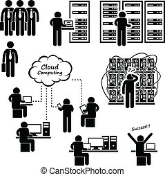 A set of pictogram representing IT and network engineer working on computers and servers.