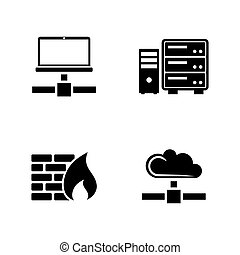 Computer network. Simple Related Vector Icons
