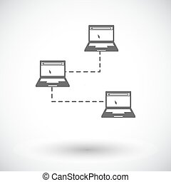 Computer network single icon.