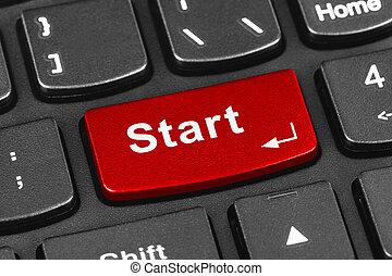 Computer notebook keyboard with Start key - technology...