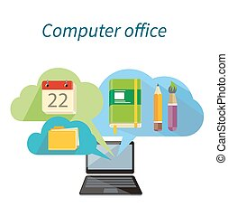 Computer Office Concept Flat Design Icon