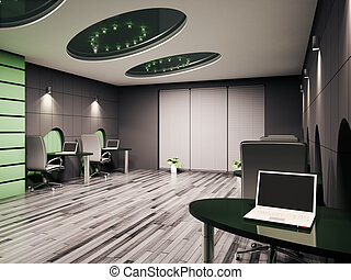 Computer office interior 3d - Computer office interior with...