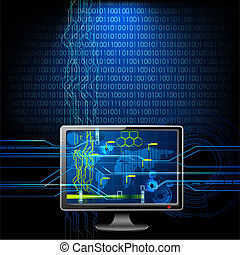 illustration of computer monitor on abstract binary background
