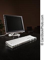 Computer on desktop.