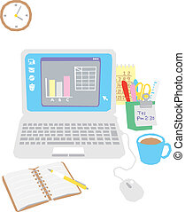 Computer on the office desk, laptop, equipment, vector