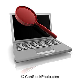Computer online search information with magnifying glass and...