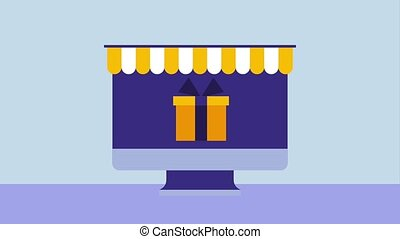 computer online shopping click gift money check mark...