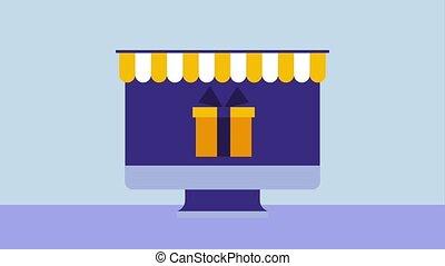 computer online shopping click gift money check mark...