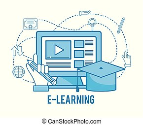 computer online study with graduation cap
