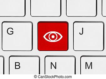 computer, oog, klee, toetsenbord
