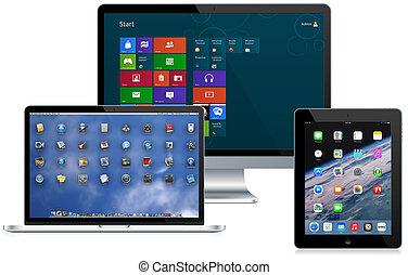 Modern aluminum computers showing operating systems (windows, macintosh, ios)