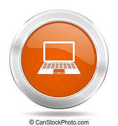 computer orange icon, metallic design internet button, web and mobile app illustration