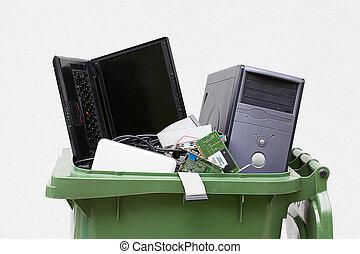 computer, oud, hardware., gebruikt