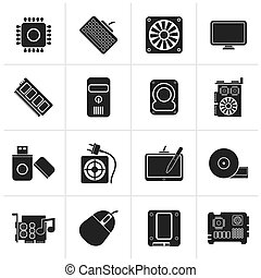Computer part icons - Black Computer part icons - vector...