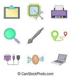 Computer part icons set, cartoon style