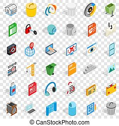 Computer part icons set, isometric style