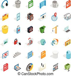 Computer part icons set, isometric style - Computer part...