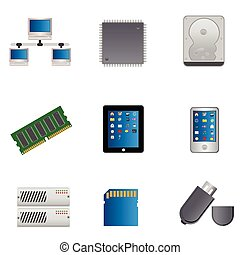 Computer parts icon set - Computer parts and computers icon...