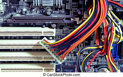 computer parts - inside of a dusty computer