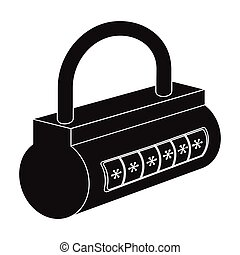 Computer password icon in black style isolated on white background. Hackers and hacking symbol stock vector illustration.