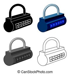 Computer password icon in cartoon style isolated on white background. Hackers and hacking symbol stock vector illustration.