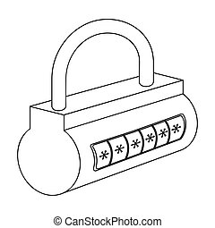 Computer password icon in outline style isolated on white background. Hackers and hacking symbol stock vector illustration.